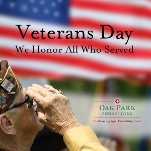 happy veterans day, oak park senior living, oak park heights mn