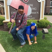 Up North Picnic-Oak Park Senior Living -Paul Bunyan and Babe having fun