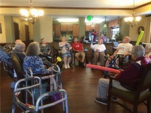 Morning Exercise Program-Oak Park Senior Living-having some fun exercising