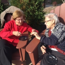 Bonfire in the Gazebo-Oak Park Senior Living-Ladies chatting
