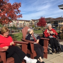 Bonfire in the Gazebo-Oak Park Senior Living-Enjoying the fall fresh air