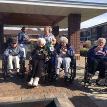 Bonfire in the Gazebo-Oak Park Senior Living-Enjoying each others friendship