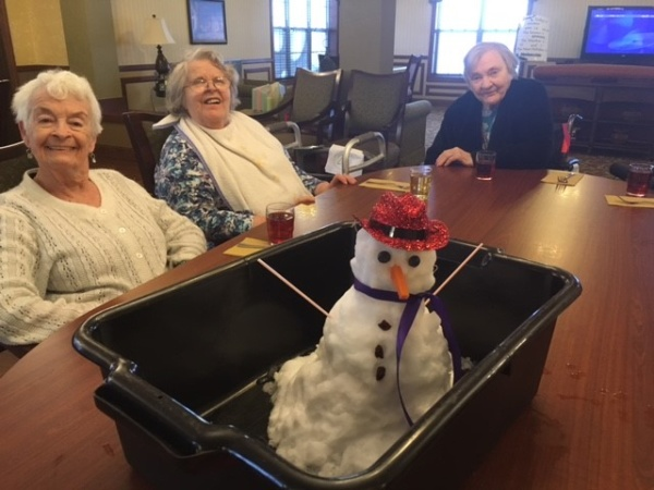 April Blizzard Snowman at Oak Park Senior Living